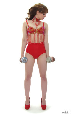 Kirsten-Ria red Chinese dance top and Chinese pocket girdle - photo for animation