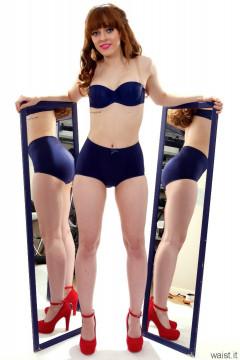 Kirsten-Ria blue Triumph bra and Chinese girdle