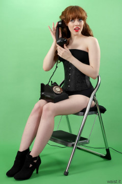 Kirsten-Ria black corset and black CHinese pantie girdle worn as hotpants