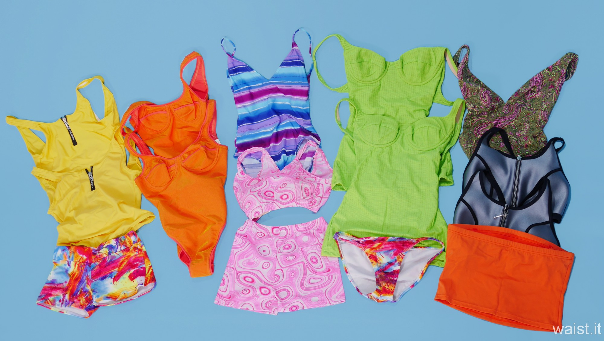 Neon coloured swimsuits