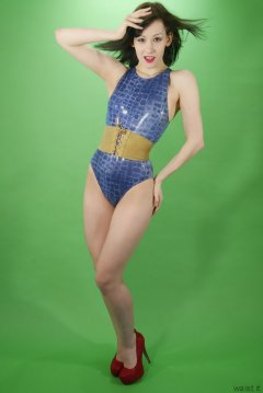 Olive Cartley blue M&S crock skin swimsuit