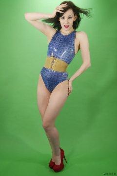 Olive Cartley blue M&S crock skin swimsuit