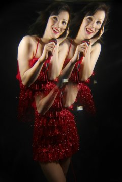 Olive Cartley red tinsel dress