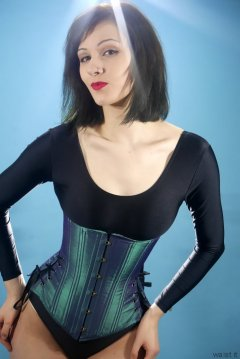 Olive Cartley black leotard and models own tightly-laced corset