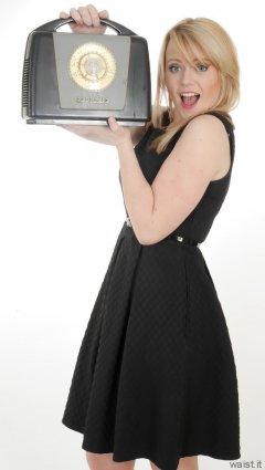 2015-05-25 Amandah black dress and vintage Ferguson radio