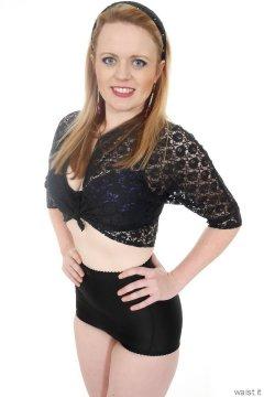 2015-05-25 Amandah black lace top, bra and girdle