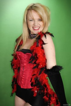 2015-05-25 Amandah red Vollers overbust corset and black girdle