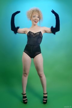 in black strapless bra and high waist pantie girdle