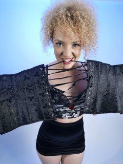 2015-08-14 Jazz in black strapless bra and skort with corset