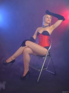 2015-08-22 Princess K black Miraclesuit and red corset