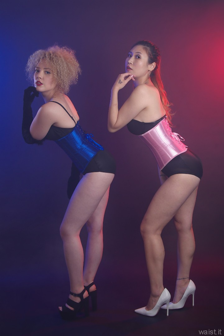 2015-09-13 Jazz and Laura show off their tiny waist and lovely flat tummies in tightly-laced Chinese underbust satin corsets