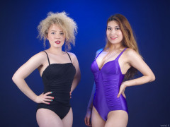 2015-09-13 Jazz and Laura show off their fabulous figures in vintage-style. tummy-control one-piece swimwear