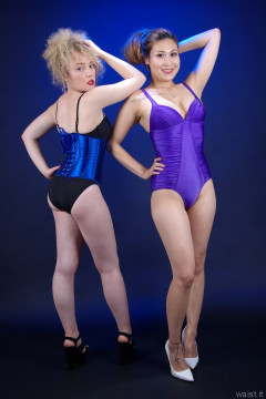 2015-09-13 fabulous figures: Jazz in butt lifter pants and tighly laced corset, and Laura in purple tummy-control one-piece swimsuit