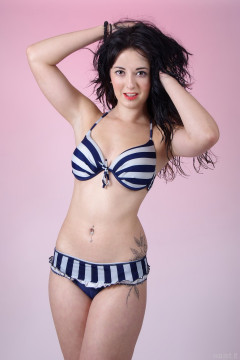 2015-09-18 Becki Lavender in her won blue and white striped retro bikini