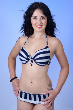 2015-09-18 Becki Lavender in her won blue and white striped retro bikini