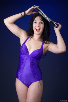 2015-09-18 Becki Lavender purple tummy-control, swimsuit