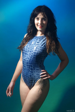 2015-08-18 Becki Lavender M&S blue croc skin swimsuit