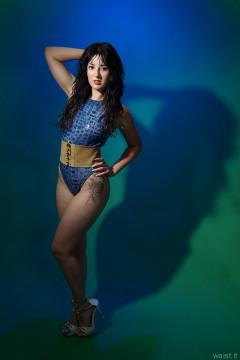 2015-08-18 Becki Lavender M&S blue croc skin swimsuit