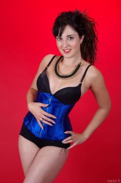 2015-09-18 Becki Lavender blue corset and black pantie girdle