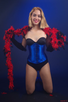 2015-10-17 Ali Soriano black Miraclesuit and blue underbust corset