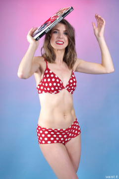 2015-11-06 GinA1 in red and white polka dot bikini