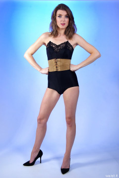 2015-11-06 GinA1 black strapless braa and black style 210 girdle worn as hotpants