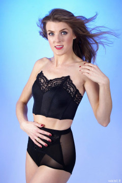 2015-11-06 GinA1 in black strapless bra top and Chinese corset-topped girdle