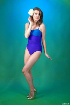 2015-11-06 GinA1 in blue and purple tummy control one piece swimsuit by M&S