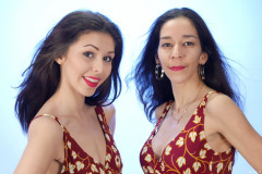 2015-11-21 Heydi and Shannon in red and white/gold tummy control swimsuits