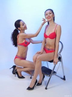 CHIN UP! TUMMY IN! 2015-11-21 Heydi and Shannon in red bikini doing deportment exercises
