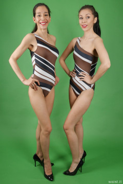 2015-11-21 Heydi and Shannon in striped one-shoulder one-piece swimsuits