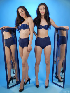 2015-11-21 Heydi and Shannon in matching blue Chinese bras and girdles