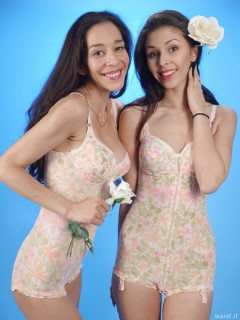 2015-11-21 Heydi and Shannon in 1960s Berlei flowerpower pantie corselettes