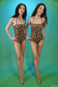 2015-11-21 Heydi and Shannon in snakeskin one-piece swimsuits