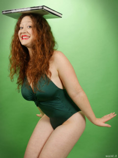 2015-12-04 Yana her own green one-piece swimsuit