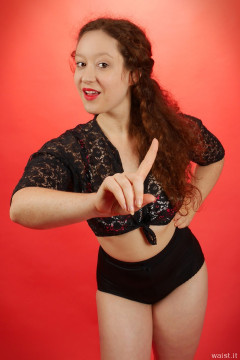 2015-12-04 Yana flowered bra top and black pantie girdle worn as hotpants