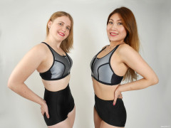 2015-12-11 Chelskii and Laura Toy in silver sports tops and tight black vintage-style lycra control briefs worn as hotpants