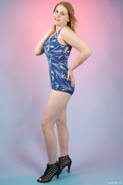 2015-12-11 Chelskii in vintage blue BHS tummy-control skirted swimsuit