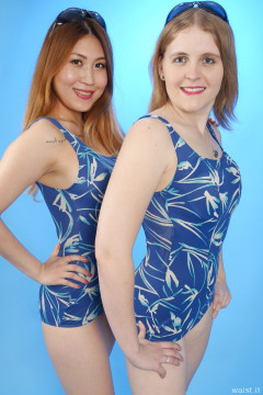 2015-12-11 Laura Toy and Chelskii in blue BHS one-piece tummy-control swimsuits