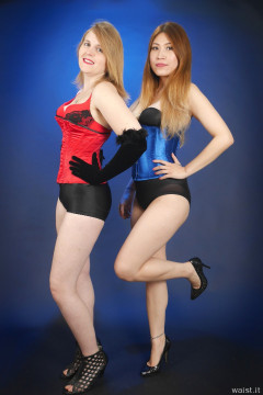 2015-12-11 Chelskii and Laura in tightly laced corsets with additional lycra shapewear to keep their lower tummies tucked in!