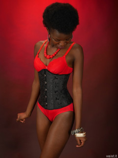 2016-01-15 Lilli in red bra and girdle and tightly laced black corset