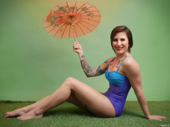 2016-04-02 Lexy in blue and purple vintage style one-piece swimsuit by M&S