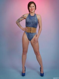 2016-04-02 Lexy in blue 90's style crocskin swimsuit