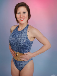 2016-04-02 Lexy in blue 90's style crocskin swimsuit