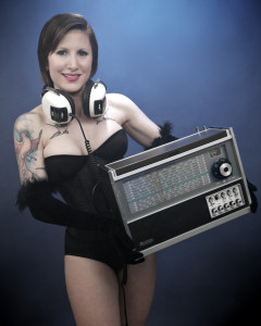 2014-04-02 Lexy with Marc Pathfinder (Tokyo Skylark) radio, in cyanotype