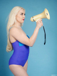 2016-04-23 Dayna Nirvana blue and purple M&S tummy control swimsuit