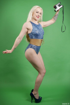 2016-04-23 Dayna Nirvana fin blue crock skin swimsuit by M&S and leather corset belt