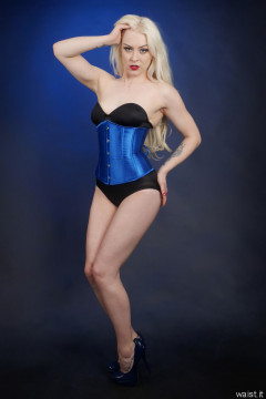 2016-04-23 Dayna Nirvana in black strapless Miraclesuit and tightly laced blue underbust corset