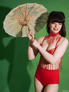 20160522 Ronnie97 wearing red bellydance top and red pocket girdle worn as hotpants