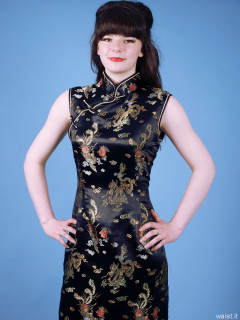 20160522 Ronnie97 in black cheongsam dress